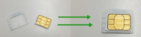 SIMカードの変換アダプタをする前(左)と装着後(右)を並べた画像
